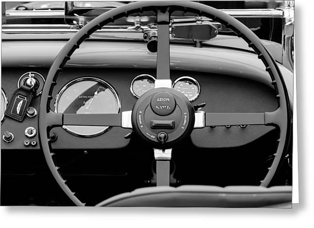 D.w Greeting Cards - 1939 Aston Martin 15-98 Abbey Coachworks SWB Sports Steering Wheel Greeting Card by Jill Reger