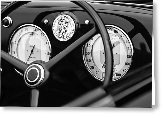 D.w Greeting Cards - 1940 Alfa Romeo 6C 2500 SS Graber Cabriolet Steering Wheel - Guages Greeting Card by Jill Reger