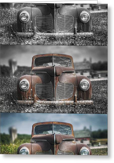 1940 Desoto Deluxe Triptych Greeting Card by Scott Norris