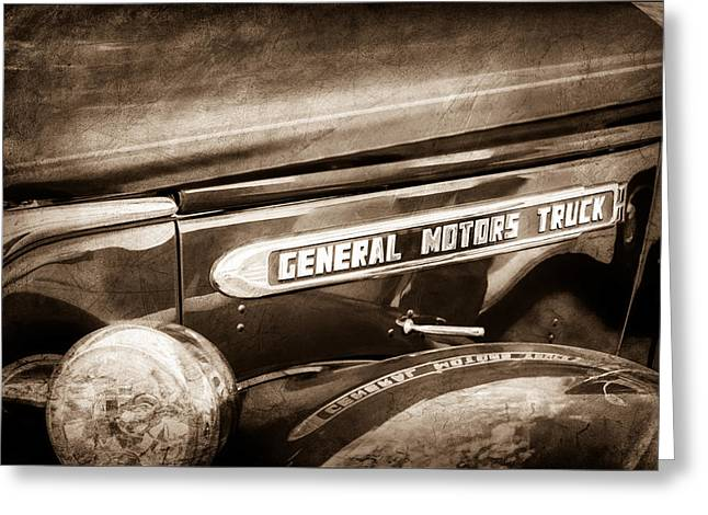 Gmc Greeting Cards - 1940 GMC General Motors Truck Emblem Greeting Card by Jill Reger