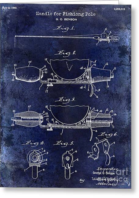 Port Fish Greeting Cards - 1940 Handle for Fishing Pole Patent Drawing Blue Greeting Card by Jon Neidert