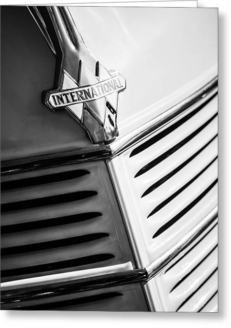 Station Wagon Photographs Greeting Cards - 1940 International D-2 Station Wagon Grille Emblem Greeting Card by Jill Reger