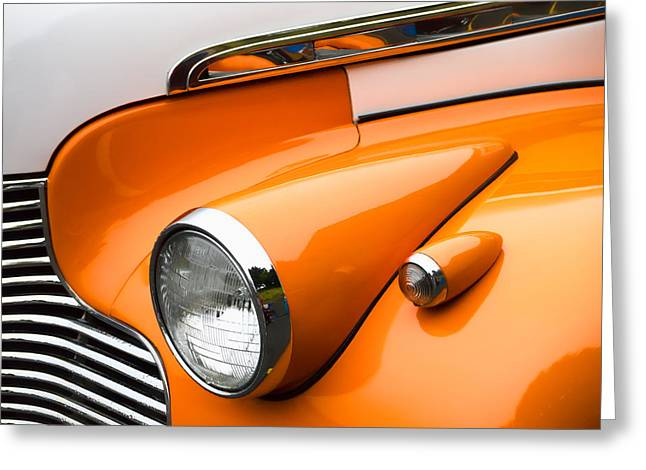 Headlight Greeting Cards - 1940 Orange and White Chevrolet Sedan Greeting Card by Carol Leigh