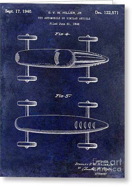 Recently Sold -  - Indy Car Greeting Cards - 1940 Toy Car Patent Drawing Blue Greeting Card by Jon Neidert