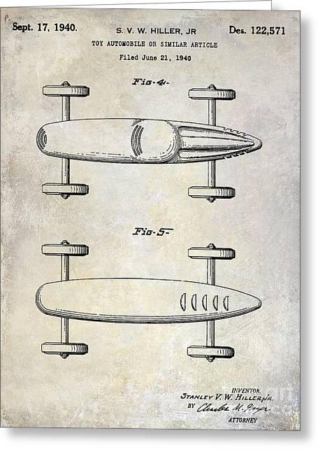 1940 Toy Car Patent Drawing Greeting Card by Jon Neidert