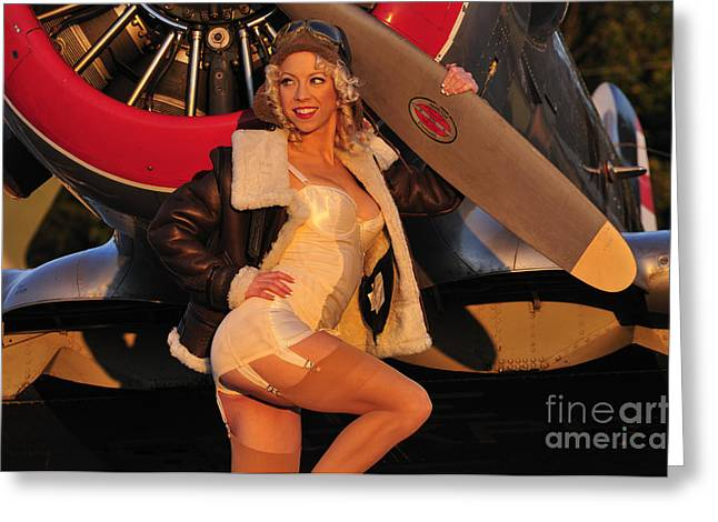 Women Only Greeting Cards - 1940s Style Aviator Pin-up Girl Posing Greeting Card by Christian Kieffer