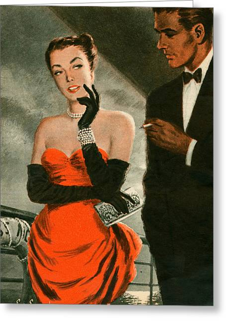 Black Tie Greeting Cards - 1940s Uk Woman Magazine Plate Greeting Card by The Advertising Archives