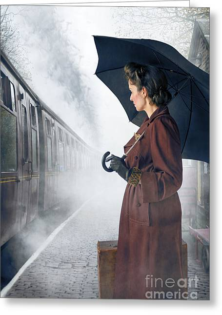Evacuee Greeting Cards - 1940s Woman Waiting For A Steam Train  Greeting Card by Lee Avison