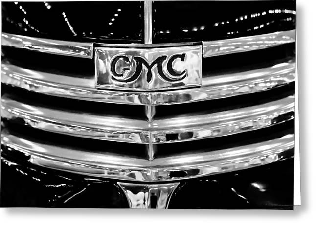 Gmc Greeting Cards - 1941 GMC Suburban Woody Wagon Grille Emblem Greeting Card by Jill Reger