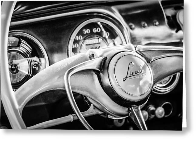 Lincoln Images Greeting Cards - 1941 Lincoln Continental Coupe Steering Wheel Emblem -0858c Greeting Card by Jill Reger