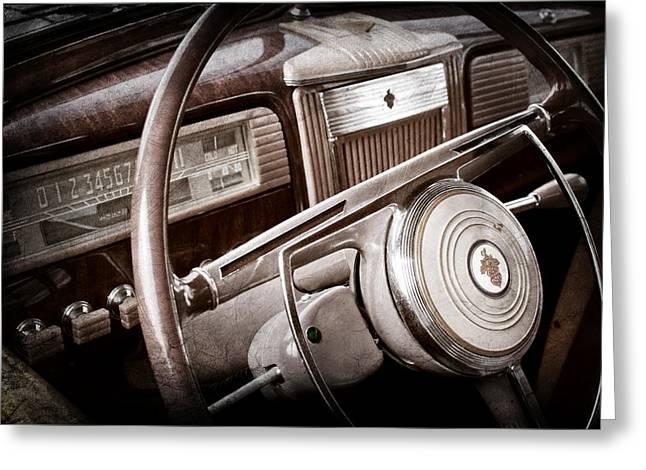 1941 Greeting Cards - 1941 Packard Steering Wheel Emblem Greeting Card by Jill Reger
