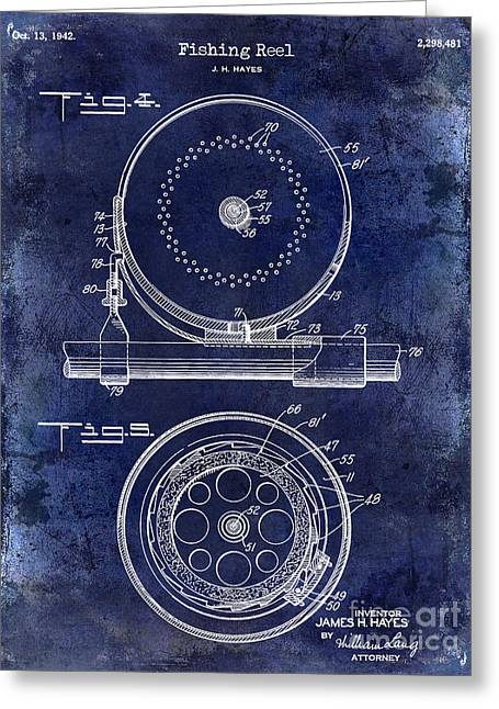 Port Fish Greeting Cards - 1942 Fishing Reel Patent Drawing Blue Greeting Card by Jon Neidert