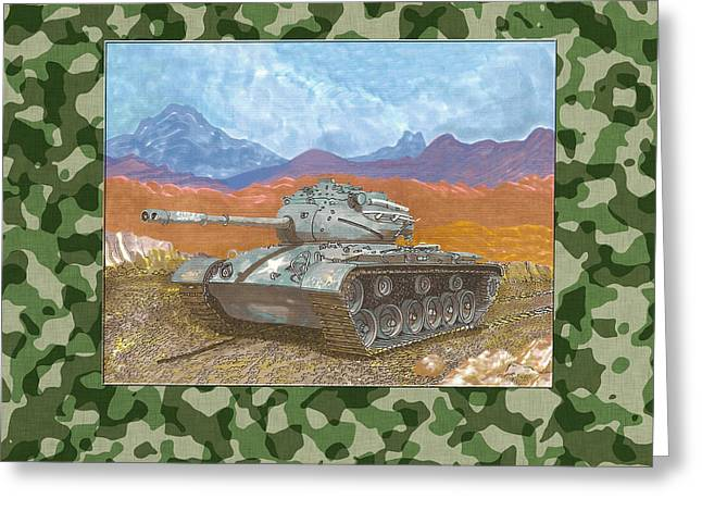 Army Tank Greeting Cards - 1942 General Patton M 47 Medium Tank Greeting Card by Jack Pumphrey