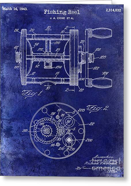 Lake House Greeting Cards - 1943 Fishing Reel Patent Drawing Blue Greeting Card by Jon Neidert