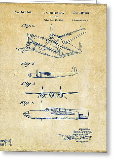Air Plane Greeting Cards - 1944 Howard Hughes Airplane Patent Artwork 2 Red Greeting Card by Nikki Marie Smith