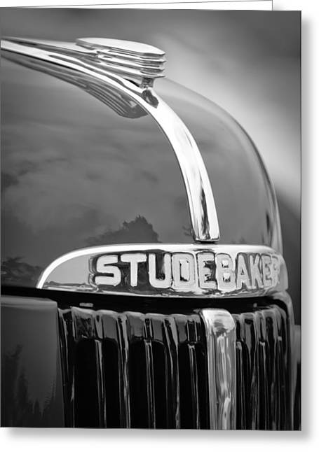 Classic Pickup Greeting Cards - 1947 Studebaker M5 Pickup Truck Grill Emblem - Hood Ornament Greeting Card by Jill Reger