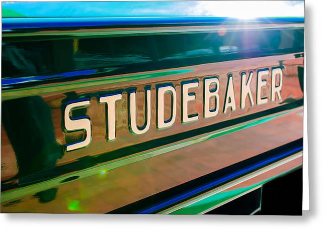Classic Pickup Greeting Cards - 1948 Studebaker M15A Pickup Truck Tail Gate Emblem Greeting Card by Jill Reger