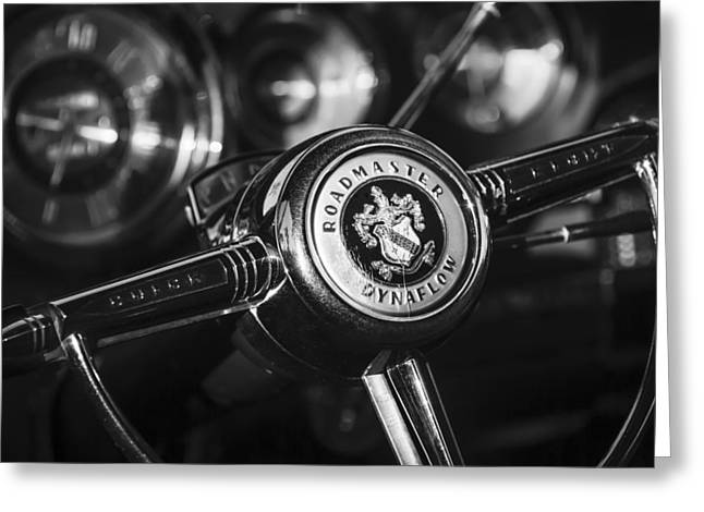 Steering Greeting Cards - 1949 Buick Roadmaster Riviera Coupe Steering Wheel Emblem Greeting Card by Jill Reger