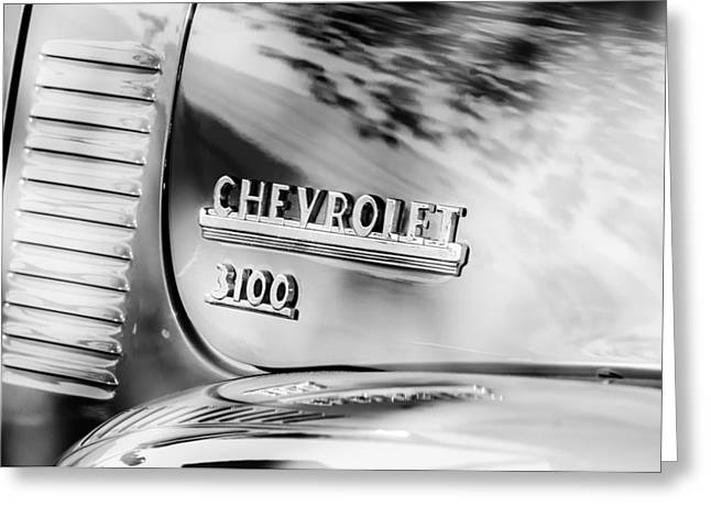 Chevrolet 3100 Greeting Cards - 1949 Chevrolet 3100 Pickup Truck Emblem Greeting Card by Jill Reger