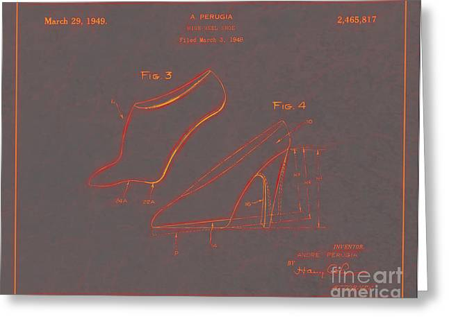 Boots Digital Greeting Cards - 1949 High Heel Shoes Patent Andre Perugia 10 Greeting Card by Nishanth Gopinathan