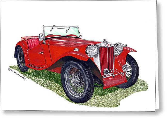 Hand Built Greeting Cards - 1949 M G T C Midget Greeting Card by Jack Pumphrey
