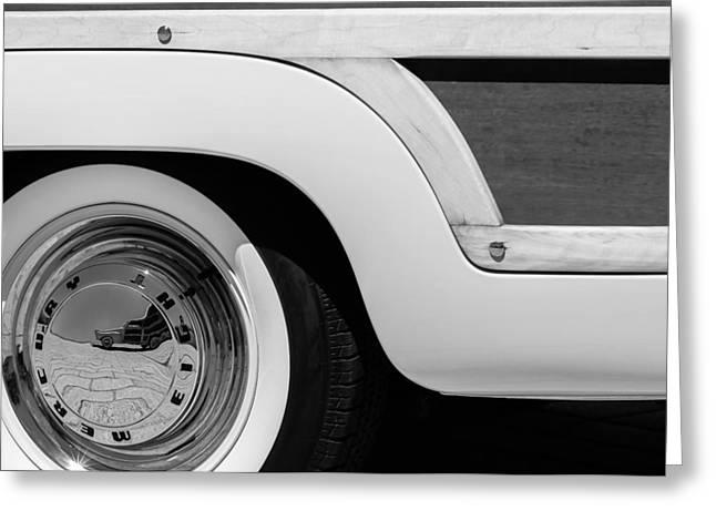 Wagon Greeting Cards - 1949 Mercury Station Woodie Wagon Wheel Emblem - Hood Ornament Greeting Card by Jill Reger