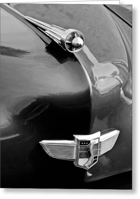 1949 Studebaker Champion Greeting Cards - 1949 Studebaker Champion Hood Ornament Greeting Card by Jill Reger
