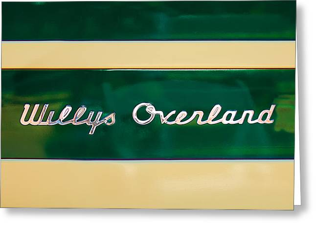 Overland Greeting Cards - 1949 Willys Jeep Station Wagon Emblem Greeting Card by Jill Reger