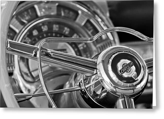 New Yorker Greeting Cards - 1950 Chrysler New Yorker Coupe Steering Wheel Emblem Greeting Card by Jill Reger