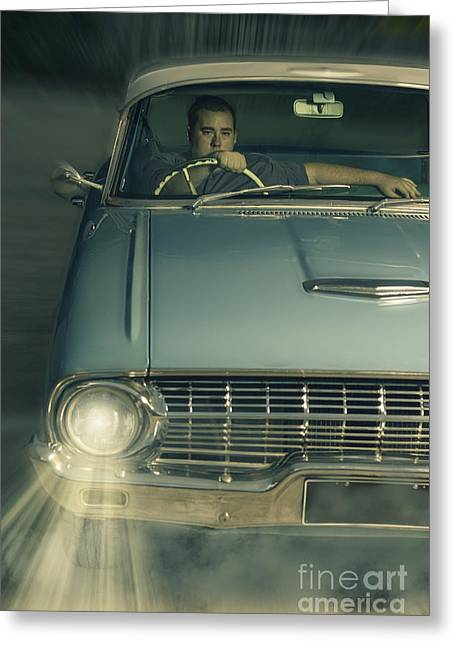 Drive In Style Greeting Cards - 1950 era American car culture  Greeting Card by Ryan Jorgensen