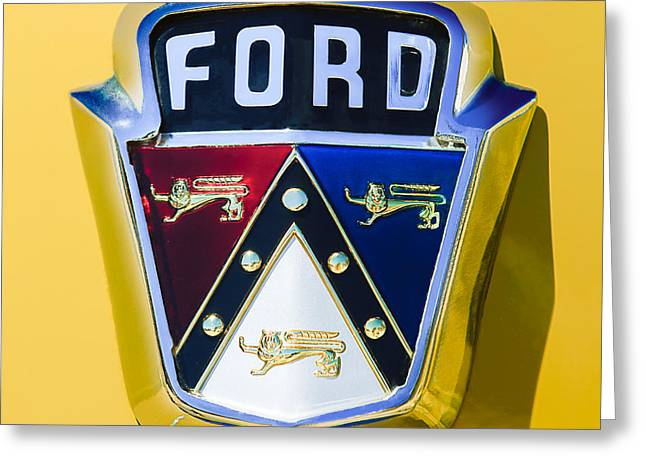 Ford Custom Greeting Cards - 1950 Ford Custom Deluxe Station Wagon Emblem Greeting Card by Jill Reger