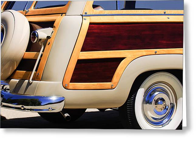 Custom Ford Greeting Cards - 1950 Ford Custom Deluxe Station Wagon Rear End - Woodie Greeting Card by Jill Reger