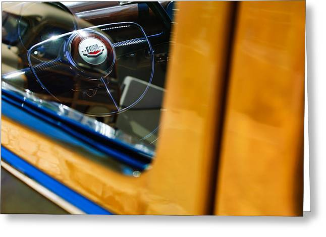 Ford Custom Greeting Cards - 1950 Ford Custom Deluxe Woodie Station Wagon Steering Wheel Emblem Greeting Card by Jill Reger