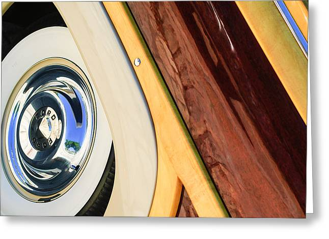 Ford Custom Greeting Cards - 1950 Ford Custom Deluxe Woodie Station Wagon Wheel Greeting Card by Jill Reger
