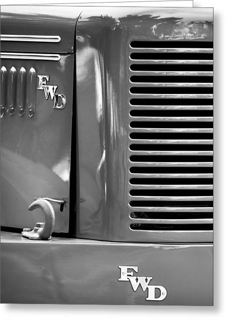 Four-wheel Greeting Cards - 1950 Four Wheel Drive Pumper Fire Truck Emblems Greeting Card by Jill Reger