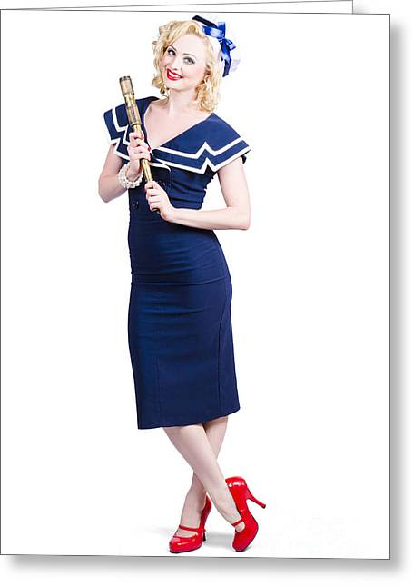 Charismatic Greeting Cards - 1950 Maritime Woman Holding Nautical Telescope Greeting Card by Ryan Jorgensen