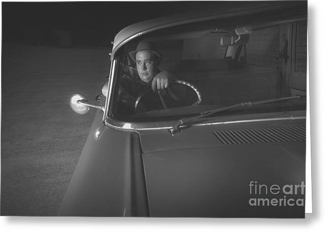 1950 Mobster Waiting In Vintage Car Greeting Card by Jorgo Photography - Wall Art Gallery