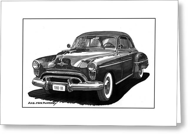 Paint Pen Greeting Cards - 1950 Oldsmobile Rocket 88 Greeting Card by Jack Pumphrey