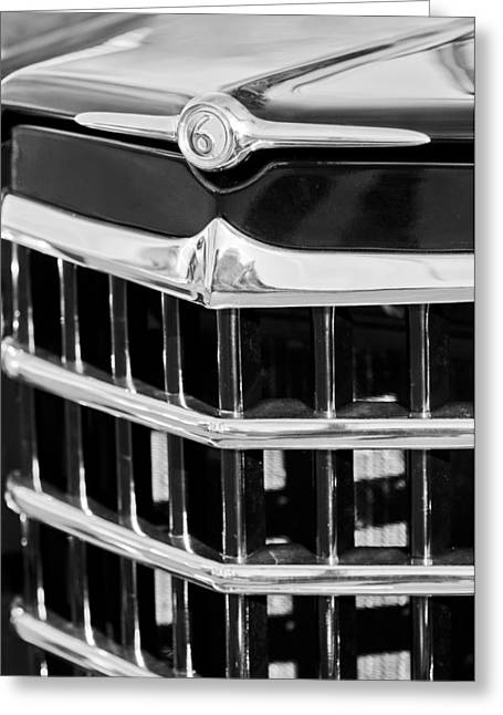 Willys Greeting Cards - 1950 Willys Jeepster Grille Emblem Greeting Card by Jill Reger