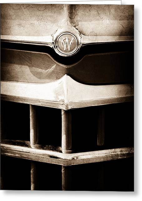 Overland Greeting Cards - 1950 Willys Overland Jeepster Hood Emblem Greeting Card by Jill Reger