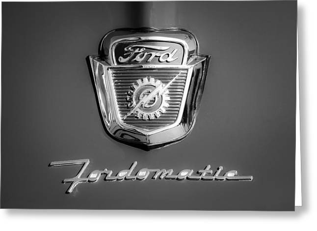 F-100 Fordomatic Truck Greeting Cards - 1950s Ford F-100 Fordomatic Pickup Truck Hood Emblems Greeting Card by Jill Reger