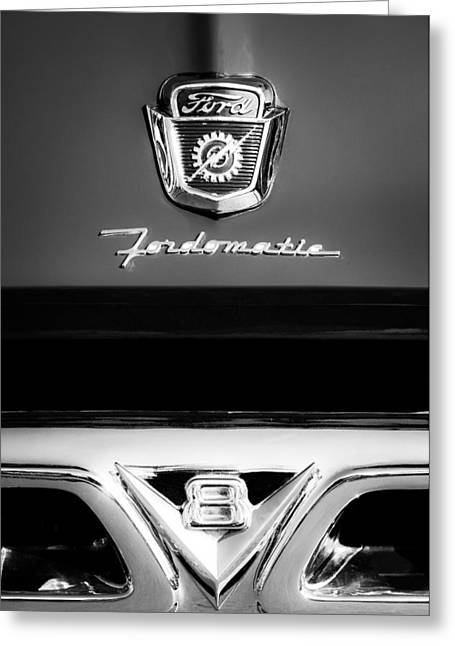 F-100 Fordomatic Truck Greeting Cards - 1950s Ford F-100 Pickup Truck Grille Emblems Greeting Card by Jill Reger