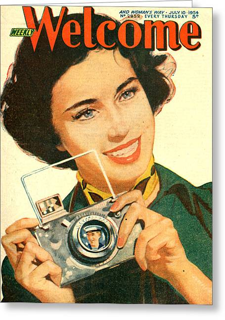 1950s Portraits Greeting Cards - 1950s Uk Weekly Welcome Magazine Cover Greeting Card by The Advertising Archives