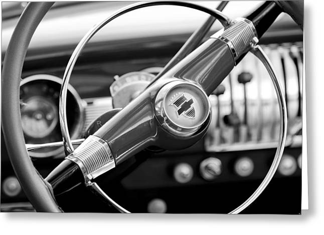 1951 Greeting Cards - 1951 Chevrolet Convertible Steering Wheel Greeting Card by Jill Reger