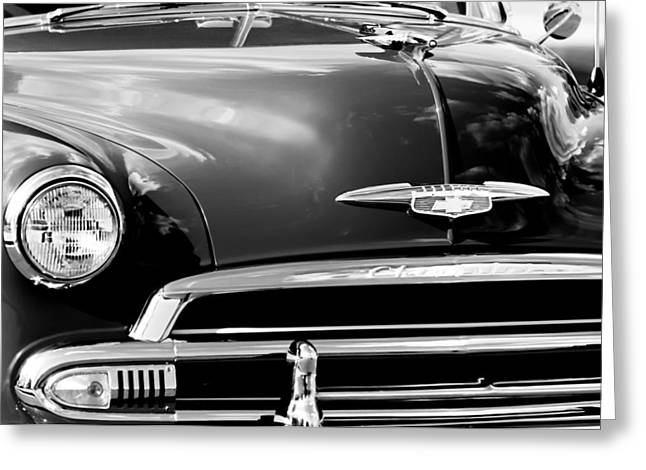 1951 Photographs Greeting Cards - 1951 Chevrolet Grille Emblem Greeting Card by Jill Reger