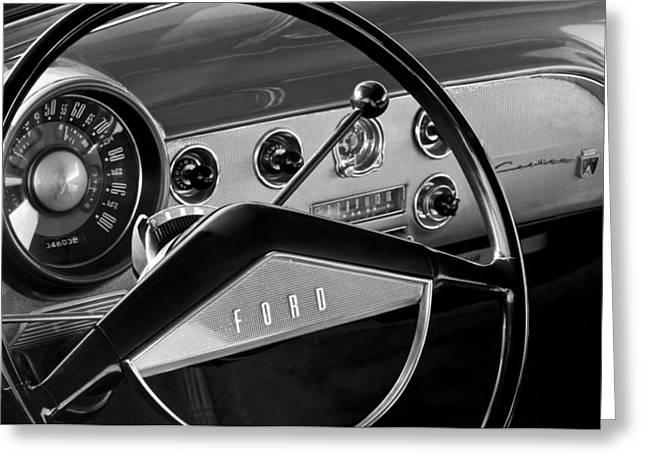 1951 Ford Crestliner Steering Wheel Greeting Card by Jill Reger