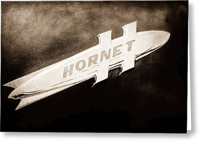 1951 Photographs Greeting Cards - 1951 Hudson Hornet Emblem Greeting Card by Jill Reger