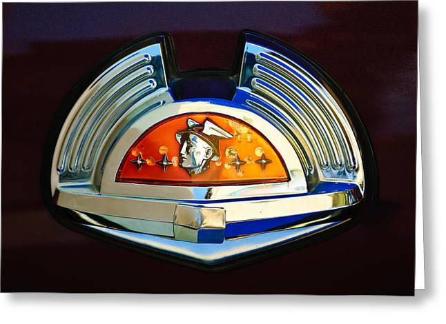 1951 Photographs Greeting Cards - 1951 Mercury Emblem Greeting Card by Jill Reger