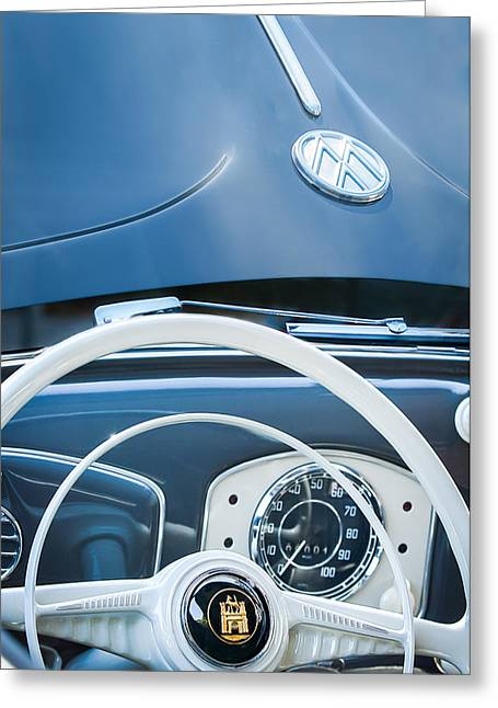 1951 Photographs Greeting Cards - 1951 Volkswagen VW Beetle Cabriolet Steering Wheel Emblem - Hood Emblem Greeting Card by Jill Reger