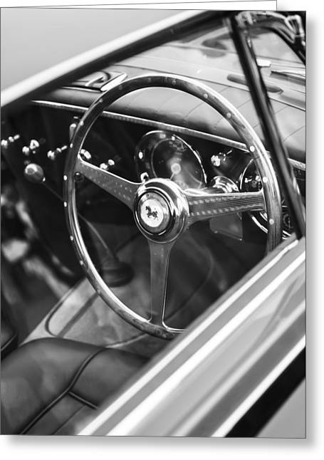 D.w Greeting Cards - 1952 Ferrari 212 Inter Vignale Coupe Steering Wheel Emblem Greeting Card by Jill Reger